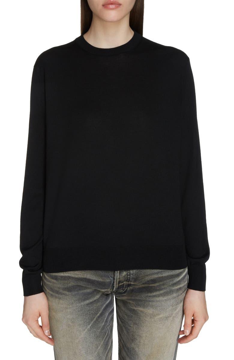 BALENCIAGA Interlocking BB Logo Wool Sweater, Main, color, BLACK/ RED