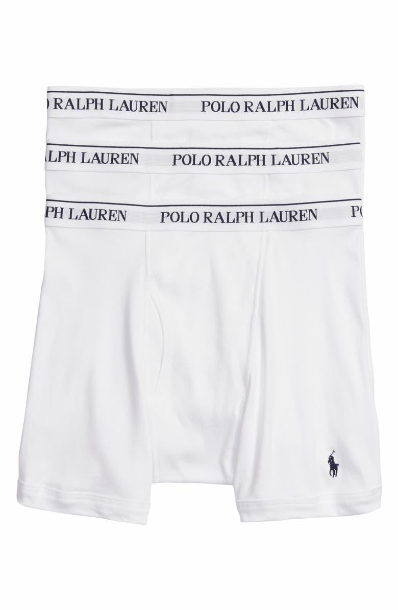 POLO RALPH LAUREN 3-Pack Cotton Boxer Briefs, Main, color, WHITE