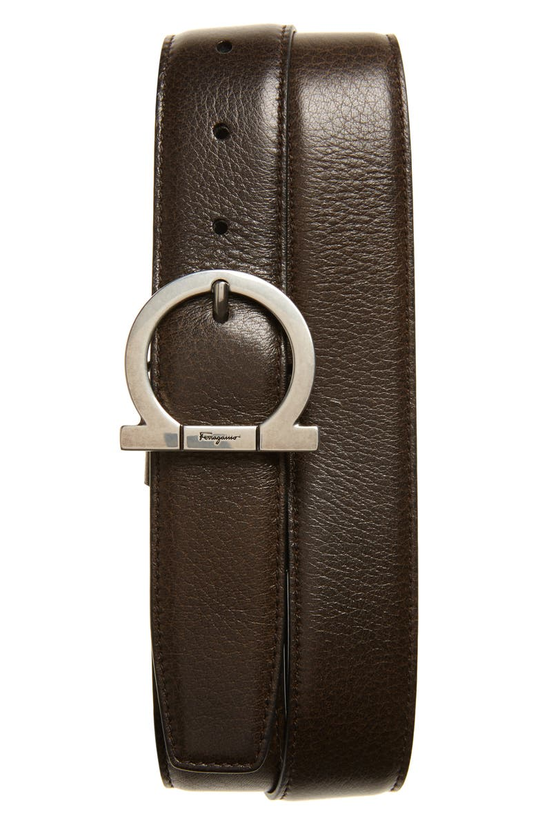 SALVATORE FERRAGAMO Reversible Leather Belt, Main, color, CAROB/ NERO