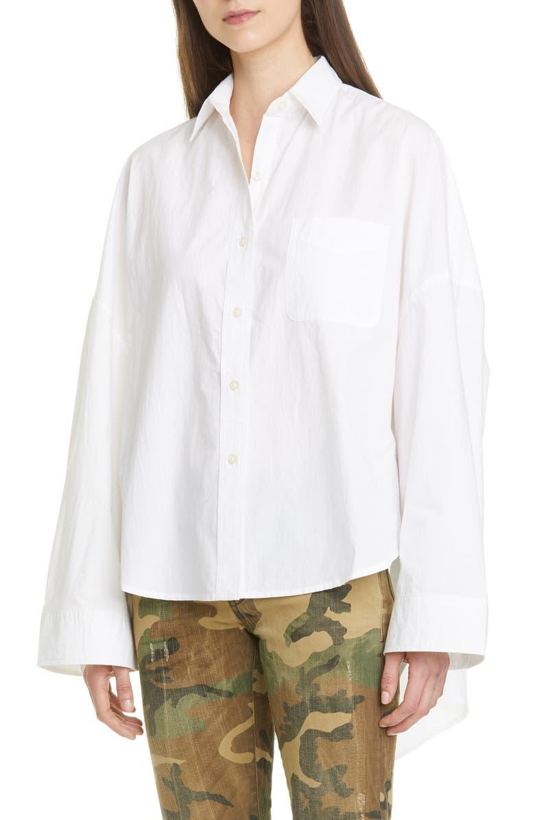 R13 Oversized Poplin Shirt, Main, color, WHITE