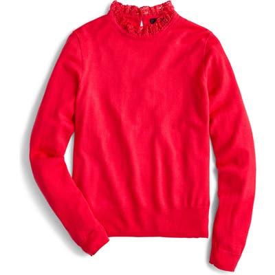 J.crew Tippi Lace Collar Detail Sweater, Pink