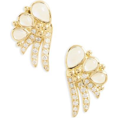 Temple St. Clair Object Trouve Diamond Moonstone Earrings