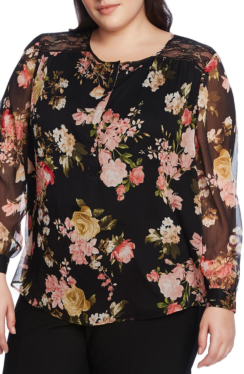 VINCE CAMUTO Beautiful Blooms Chiffon Blouse, Main, color, RICH BLACK