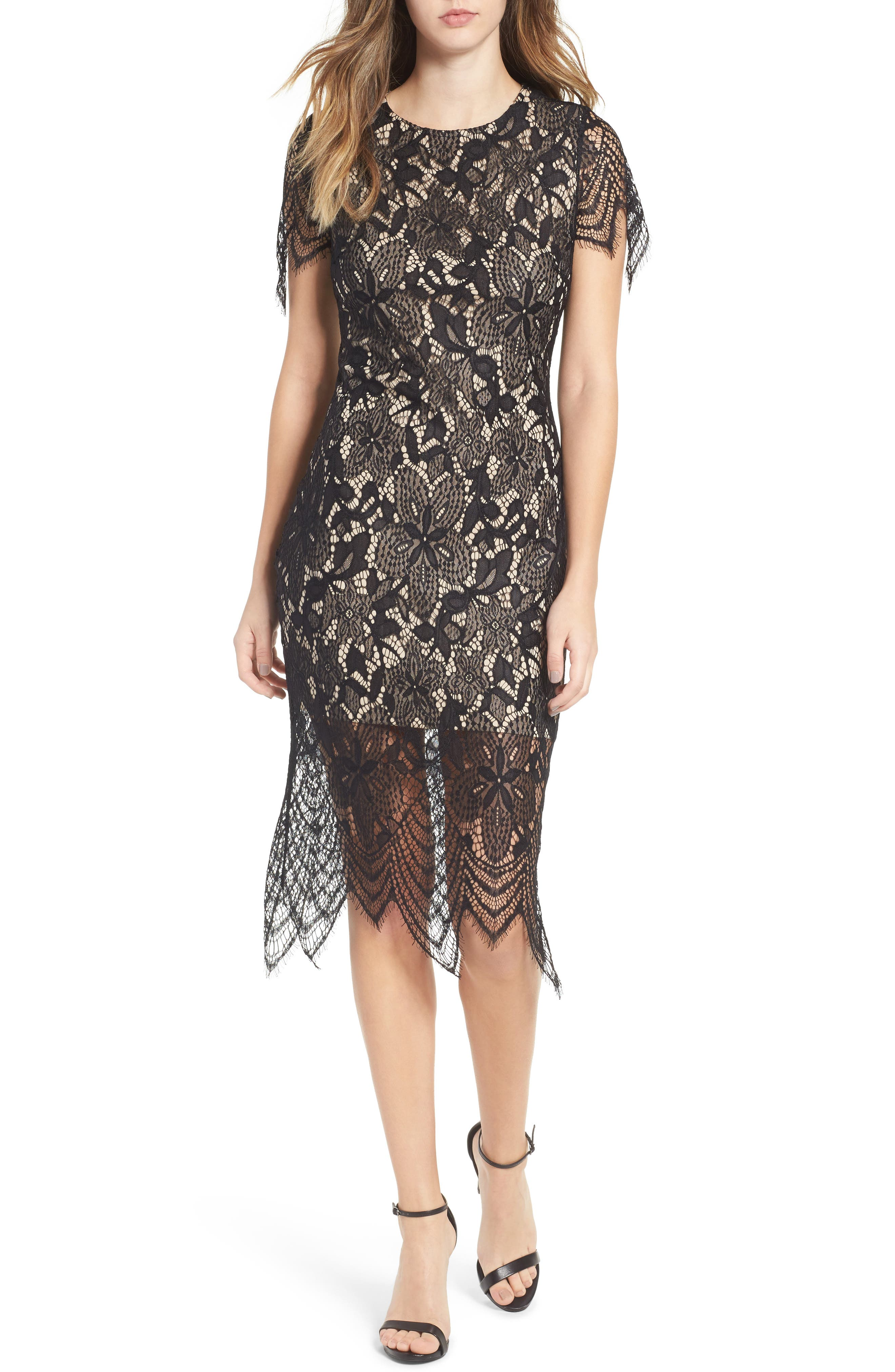 ,                             Scallop Lace Dress,                             Alternate thumbnail 6, color,                             001