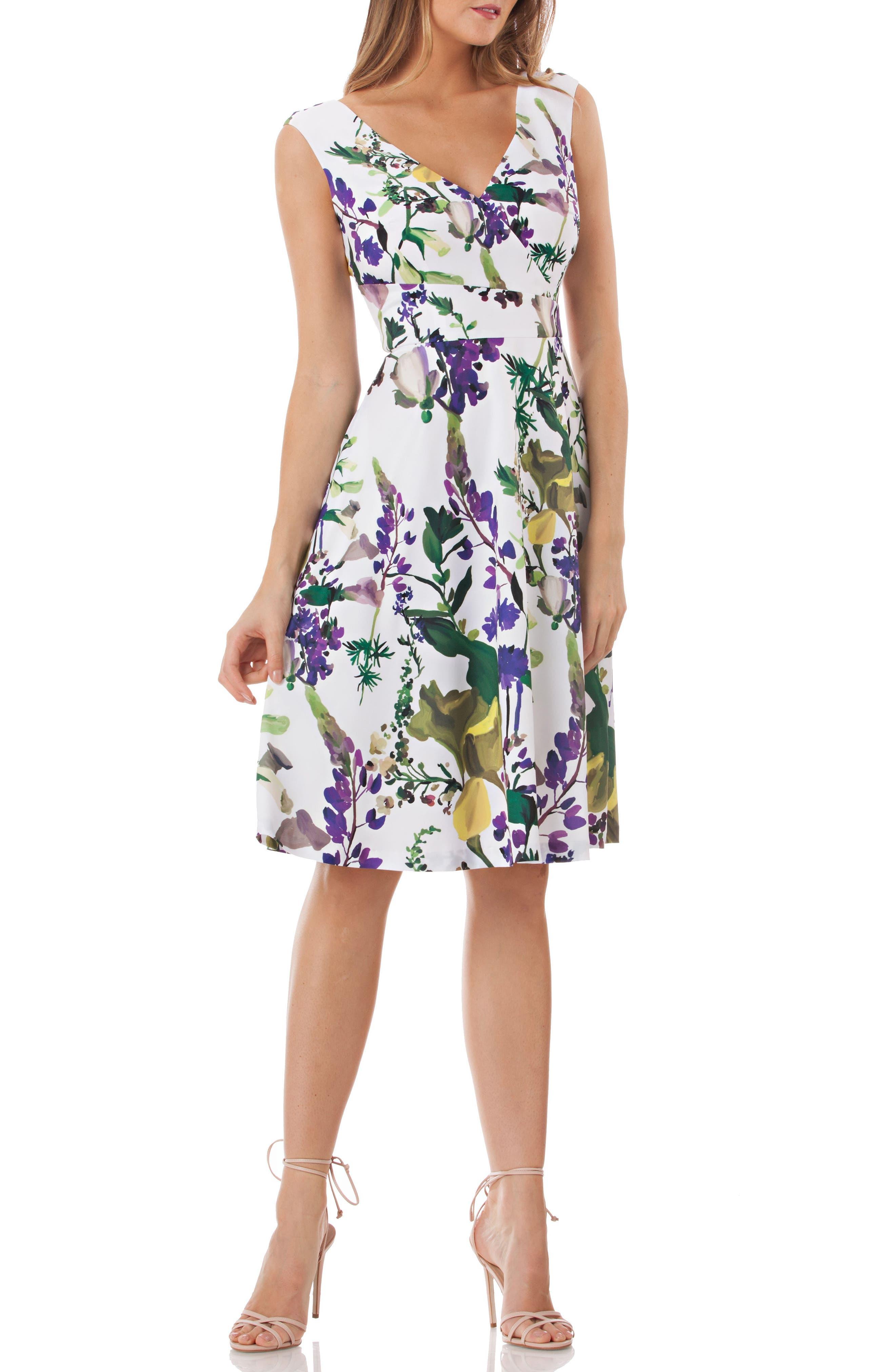 Kay Unger Floral Fit & Flare Dress, Ivory
