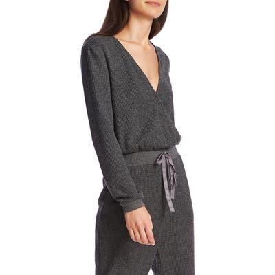 1.state Thermal Knit Long Sleeve Jumpsuit, Grey