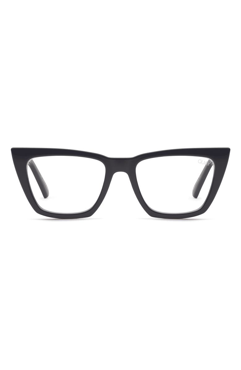QUAY AUSTRALIA Don't At Me 53mm Blue Light Blocking Optical Glasses, Main, color, BLACK/ CLEAR BLUE LIGHT