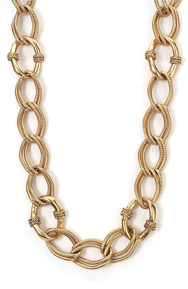 ROSA FLORES Texture Double Link Chain Necklace, Main, color, GOL