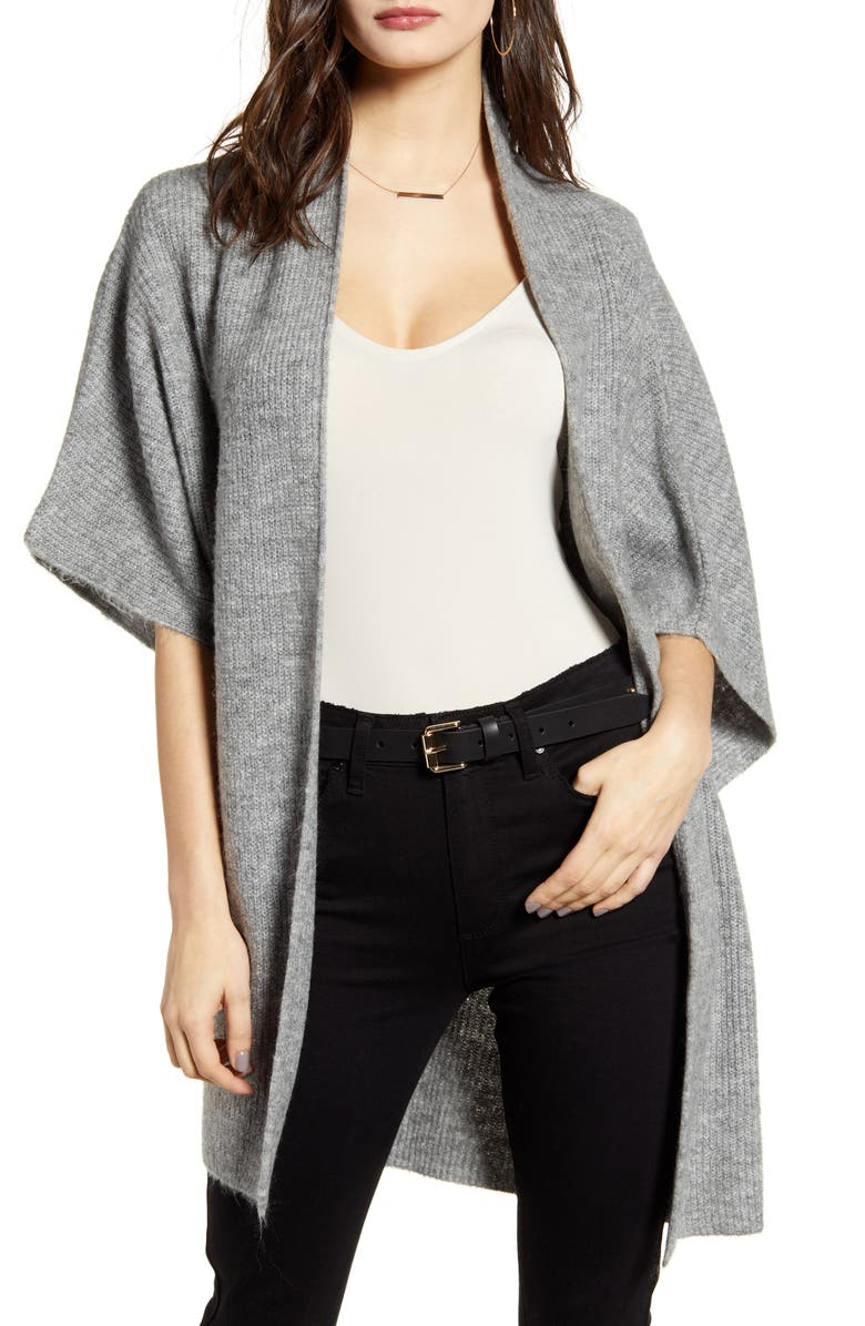 LEITH Open Front Dolman Sleeve Cardigan, Main, color, GREY MEDIUM HEATHER