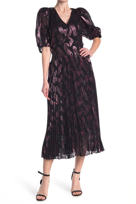 Image of Rebecca Taylor Puff Sleeve Pleated Silk Blend Midi Dress