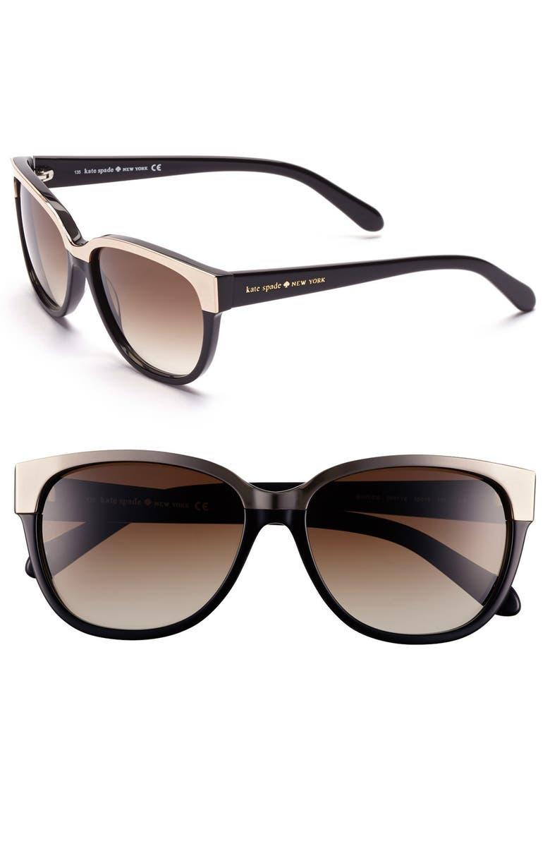 KATE SPADE NEW YORK 55mm retro sunglasses, Main, color, 001