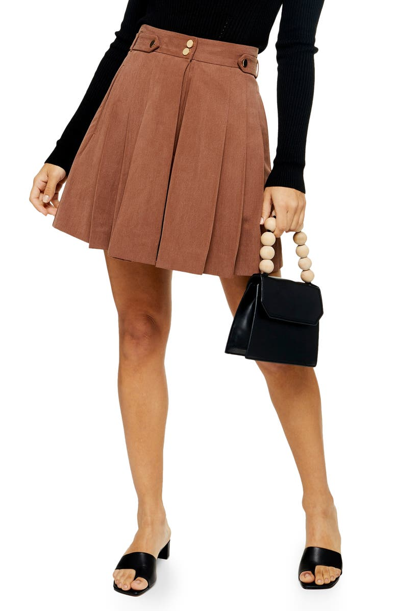 TOPSHOP Pleated Dress Shorts, Main, color, BEIGE