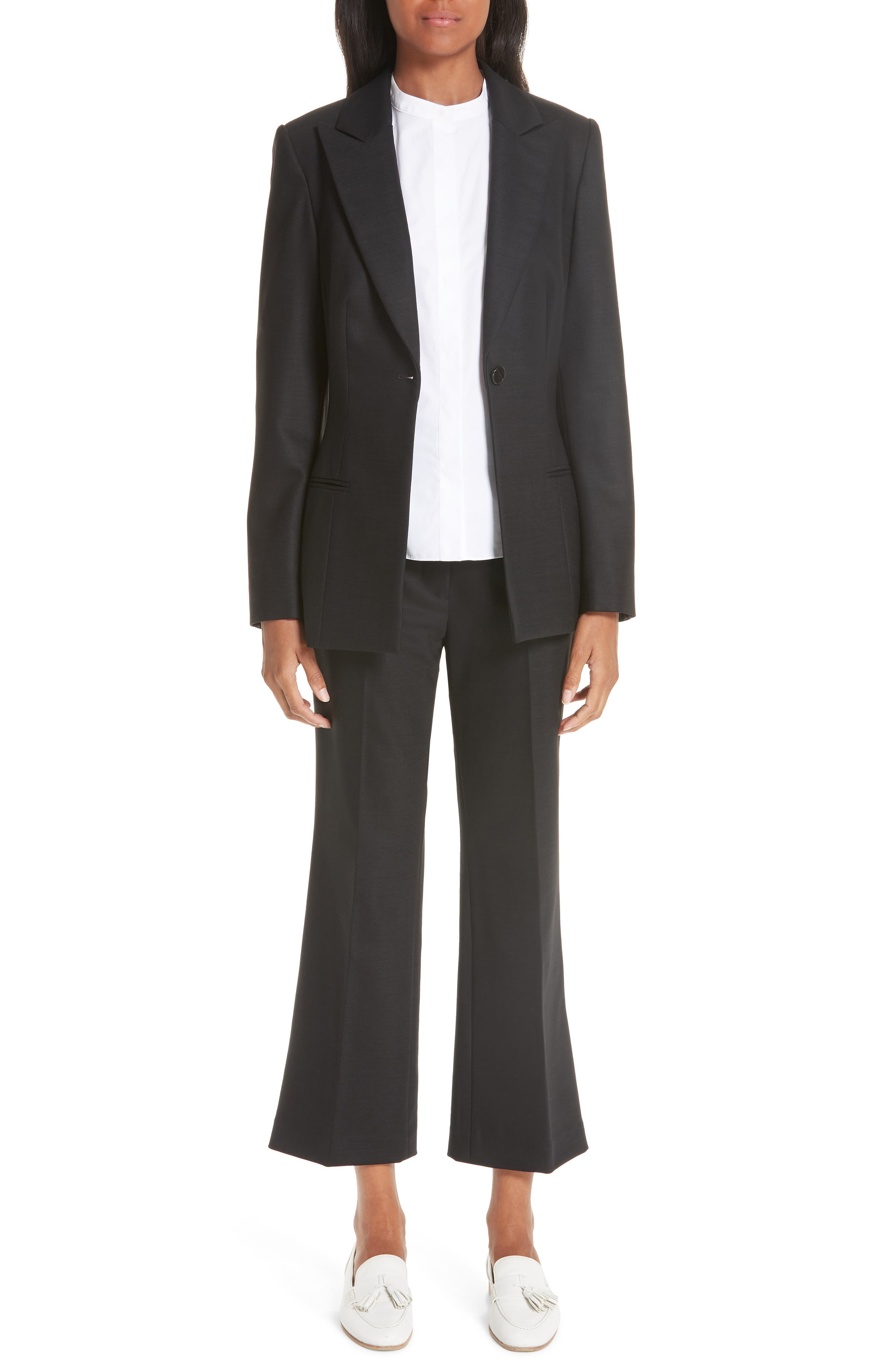 ,                             One-Button Stretch Wool Gabardine Jacket,                             Alternate thumbnail 8, color,                             BLACK