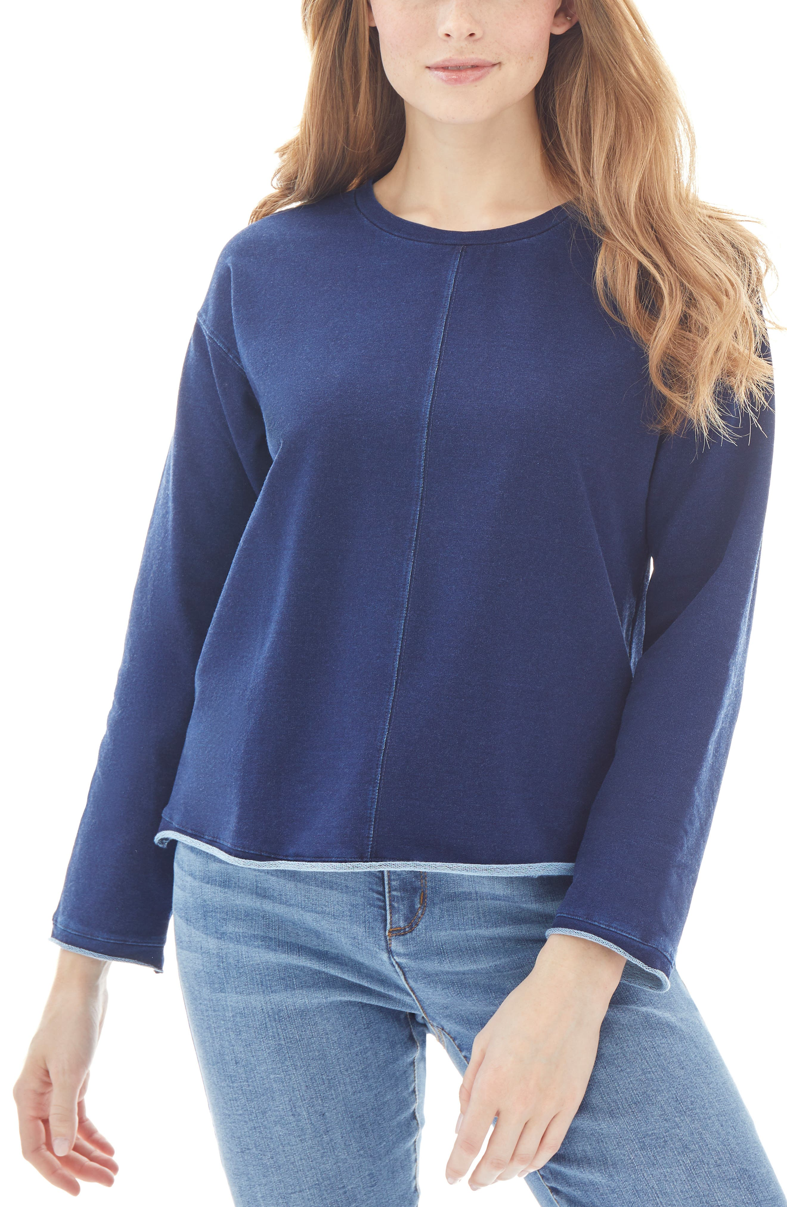 Drop Shoulder Cotton Blend Sweatshirt