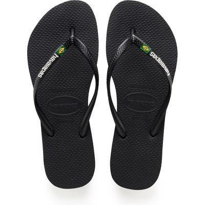 Havaianas Slim Brazil Flip Flop, 1/42 BR - Black