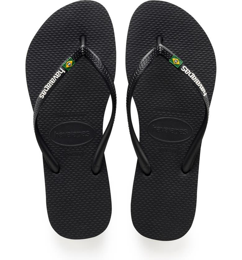 HAVAIANAS Slim Brazil Flip Flop, Main, color, BLACK