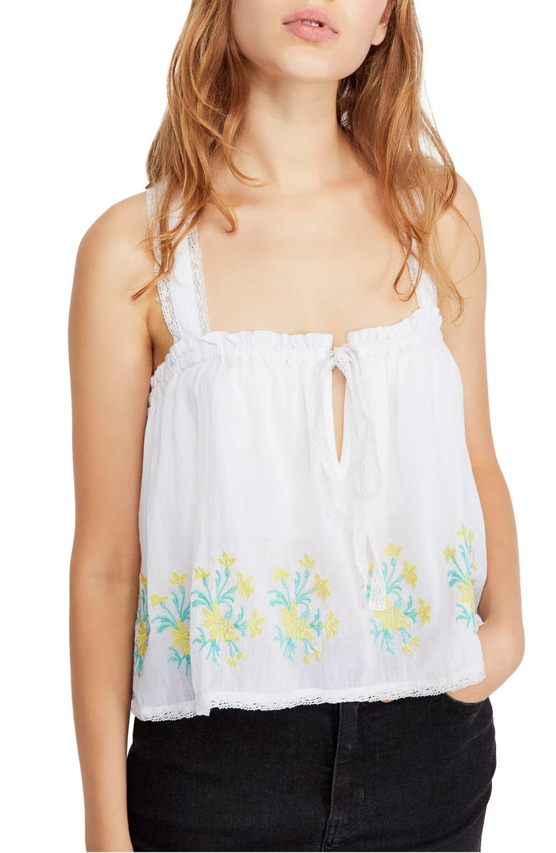 FREE PEOPLE Golden Hour Embroidered Camisole, Main, color, 100