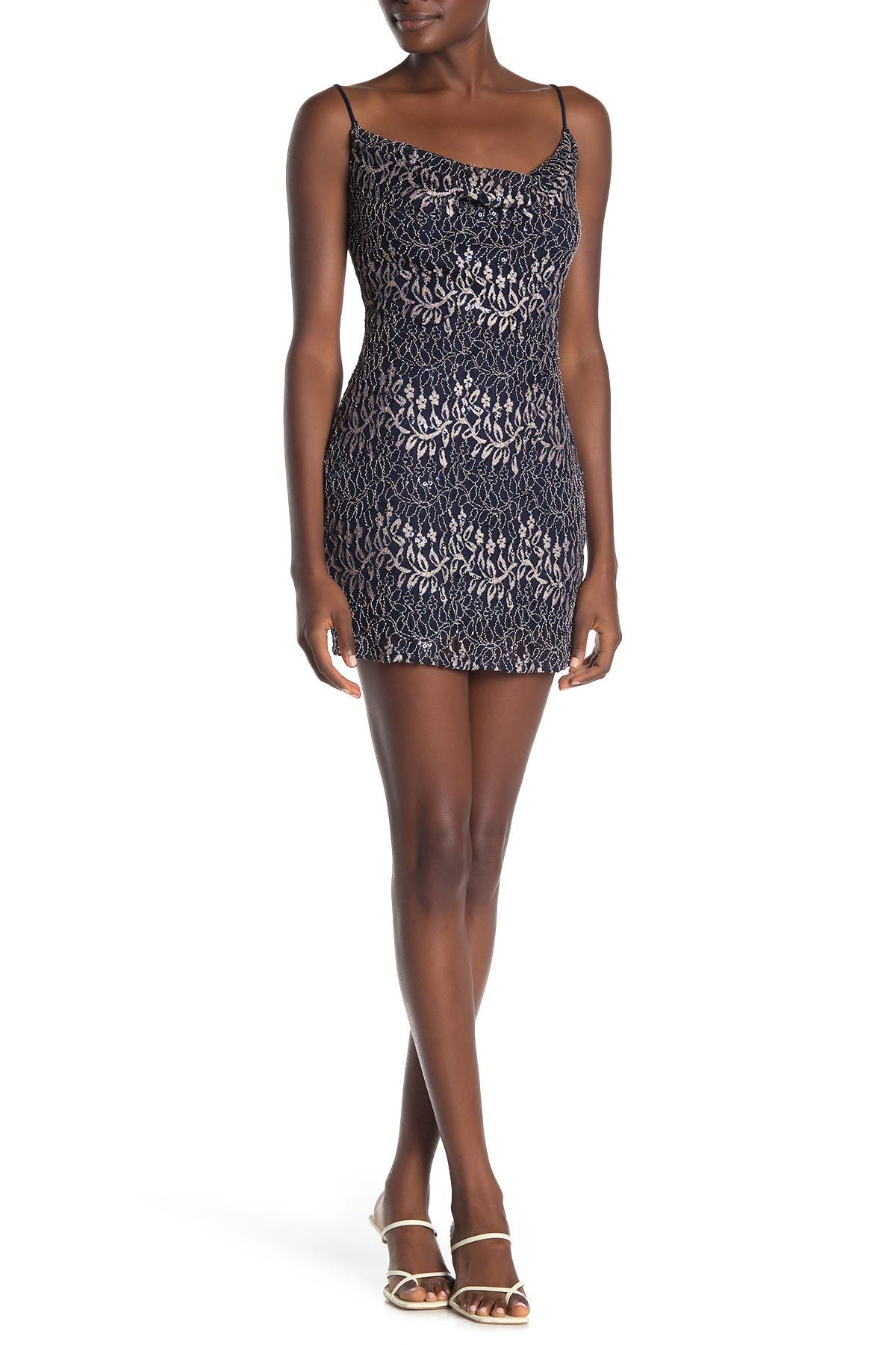 Image of JUMP Vine Sequin Lace Cowl Mini Dress