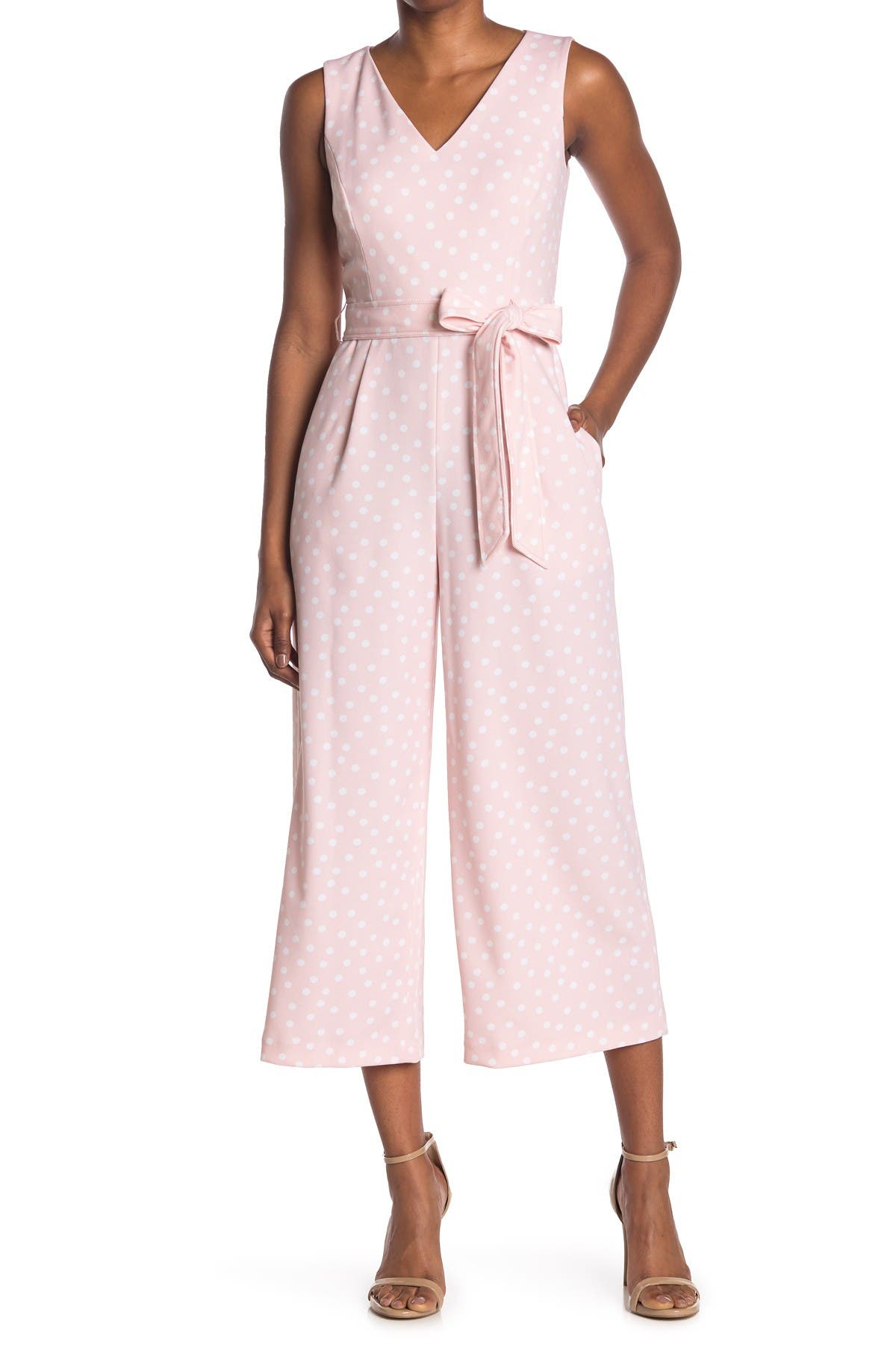 Image of Calvin Klein V-Neck Tie Belt Polka Dot Print Crop Wide Leg Jumpsuit