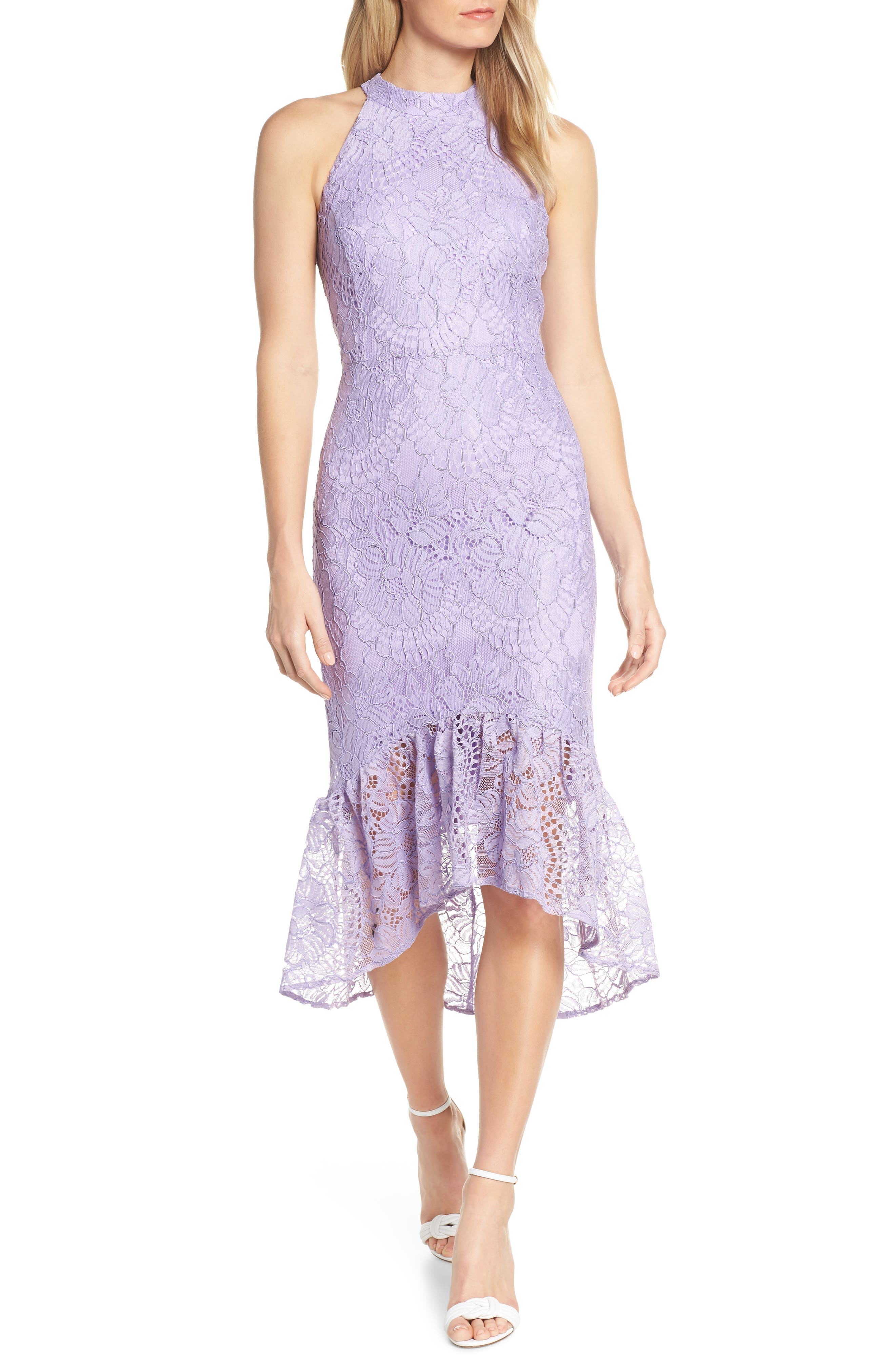 Forest Lily Lace Halter High/low Dress, Purple