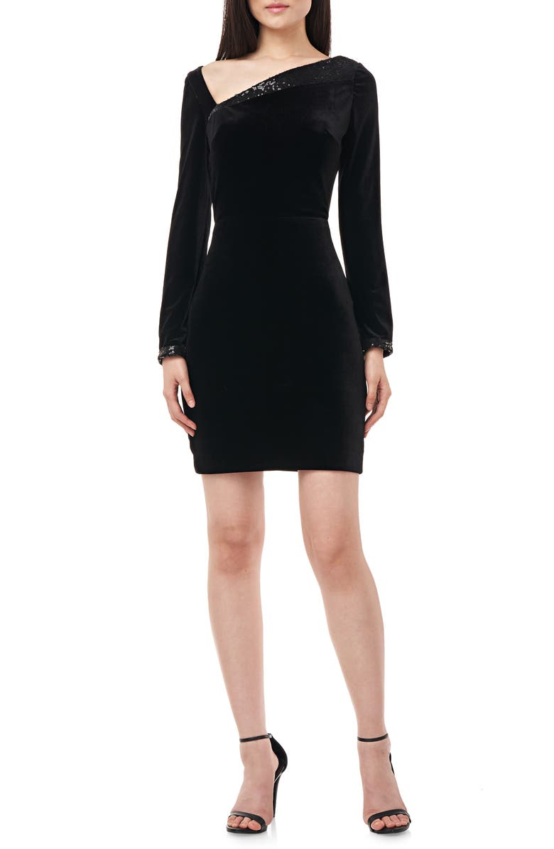LOVE BY THEIA Satin & Sequin Cross Back Long Sleeve Cocktail Dress, Main, color, BLACK