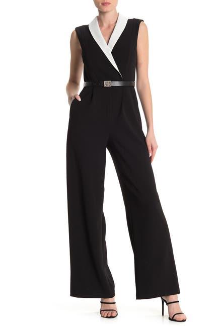 Image of Calvin Klein Shawl Collar Colorblock Wide Leg Jumpsuit