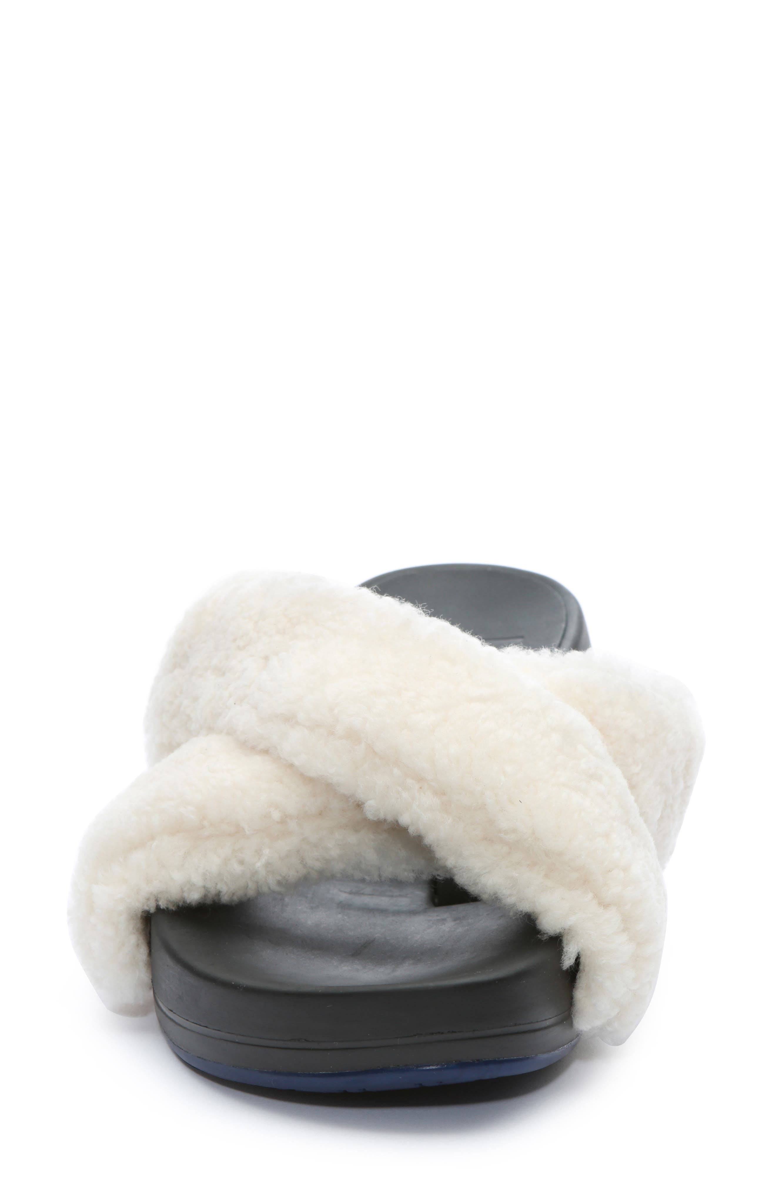 ,                             Figomatic Genuine Shearling Slide Sandal,                             Alternate thumbnail 4, color,                             NUDE SHEARLING