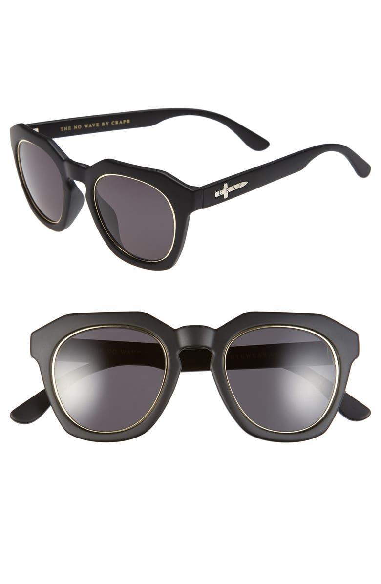 CRAP EYEWEAR 'No Wave' 47mm Sunglasses, Main, color, 001