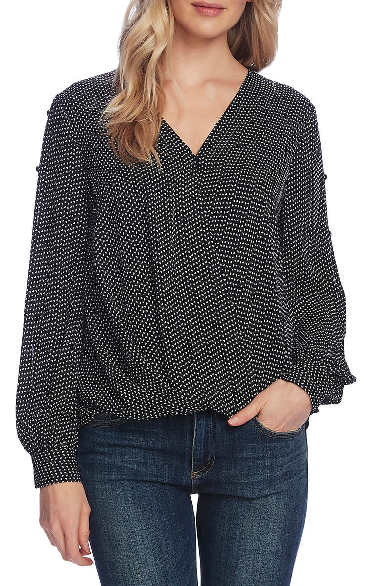 VINCE CAMUTO Textured Fragments Print Split Sleeve Top, Main, color, 001