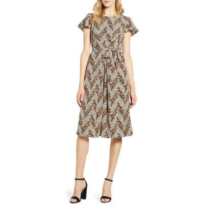 Bobeau Pleated Woven Dress, Brown