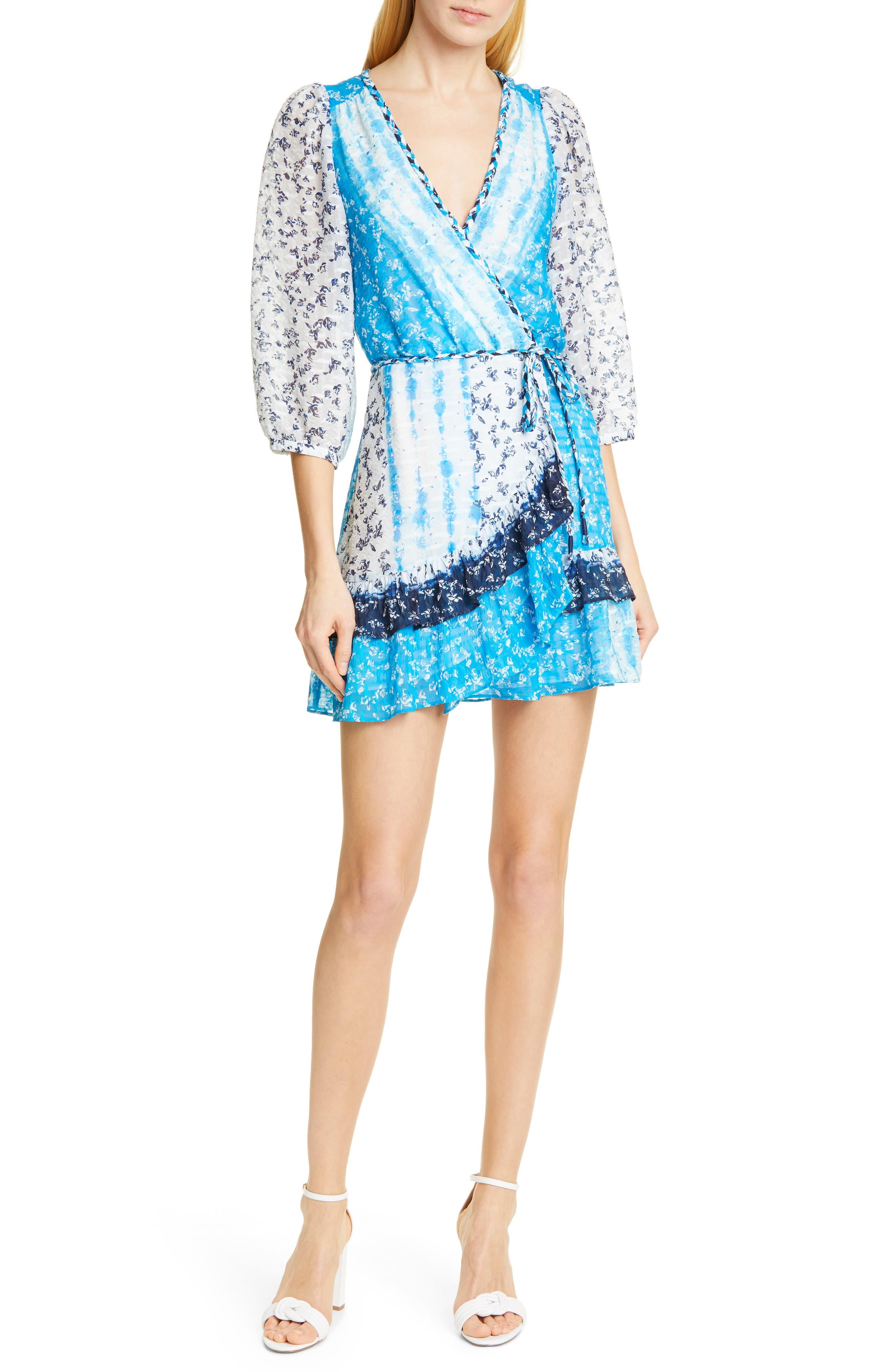 Tanya Taylor Marisa Faux Wrap Silk Blend Dress, Blue
