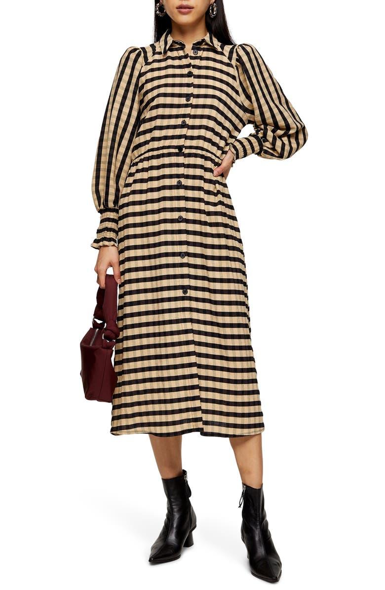 TOPSHOP Stripe Long Sleeve Midi Shirtdress, Main, color, CREAM MULTI