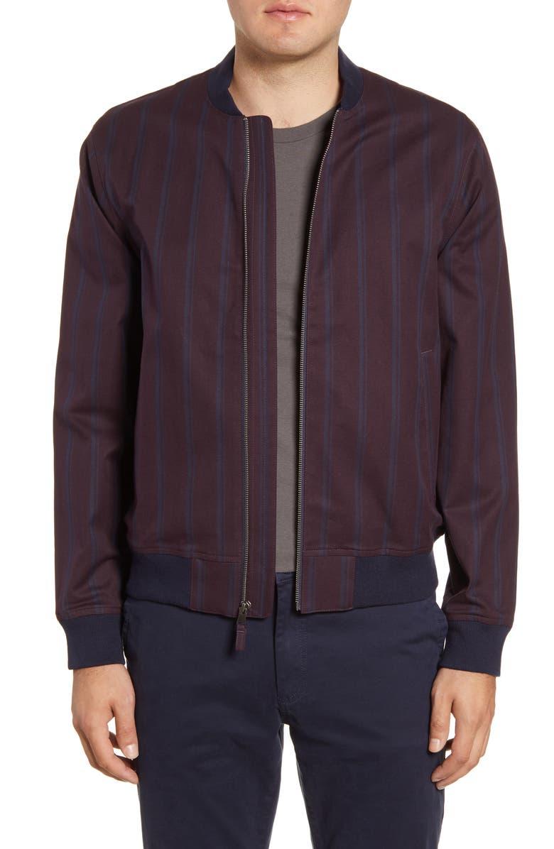BONOBOS Boulevard Slim Fit Stripe Bomber Jacket, Main, color, BURGUNDY STRIPE
