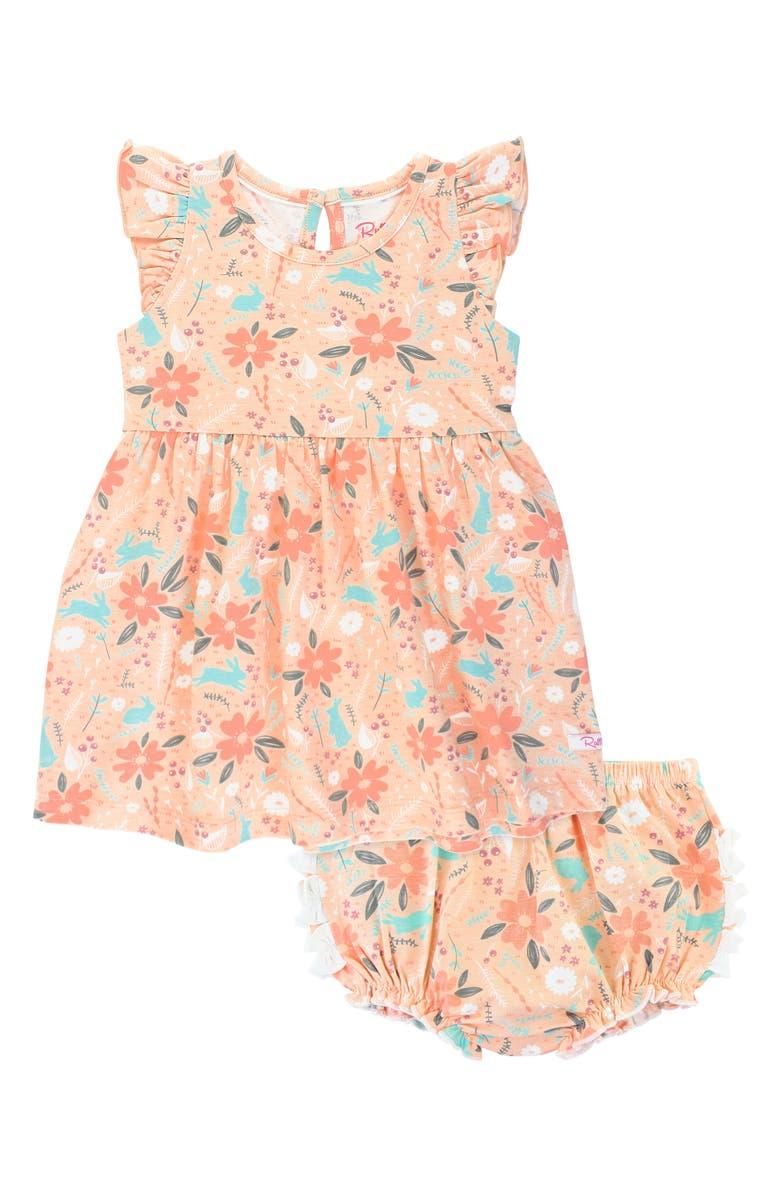 RUFFLEBUTTS Hoppily Flutter Sleeve Dress & Ruffle Bloomers Set, Main, color, ORANGE