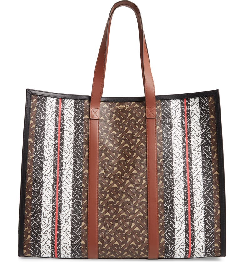 BURBERRY Medium Monogram Stripe E-Canvas Tote, Main, color, BRIDLE BROWN