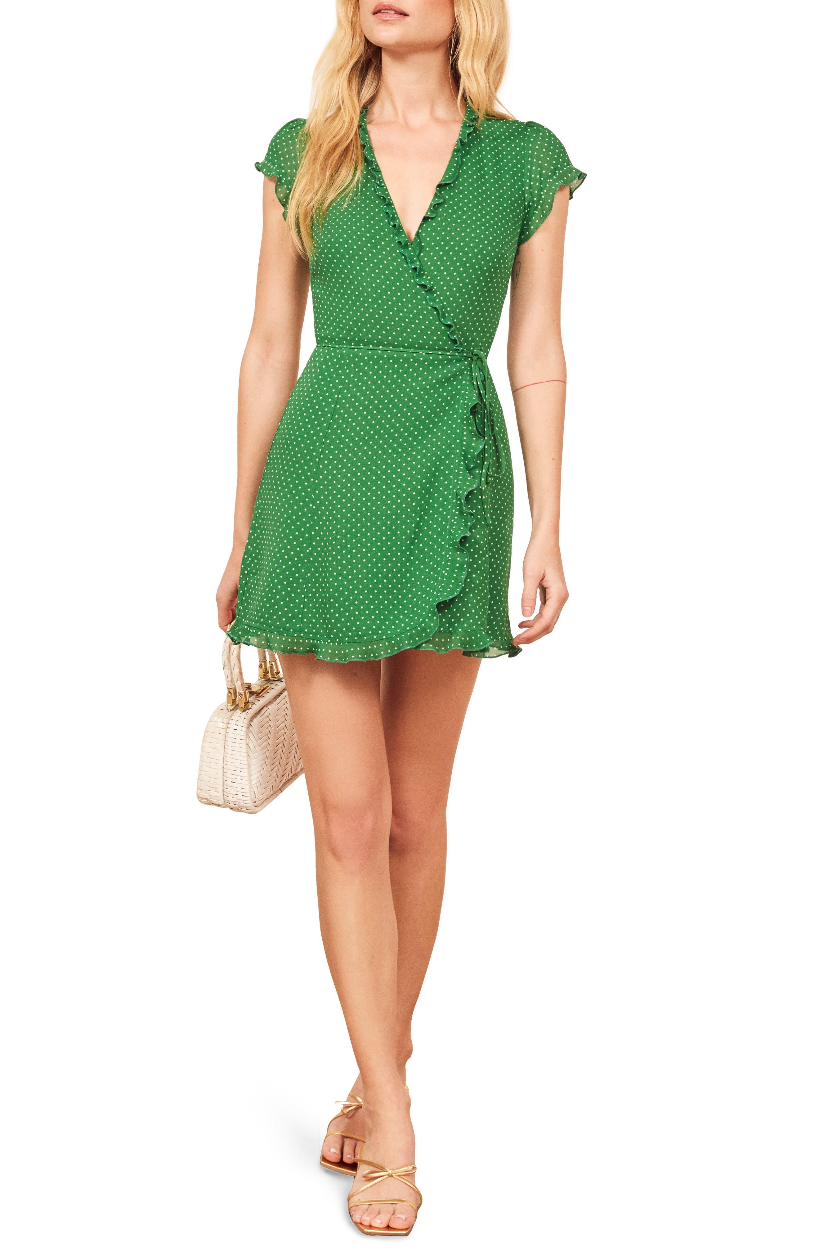 Reformation Sicilia Ruffle Wrap Minidress, Green
