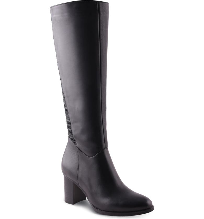 AQUADIVA Tessa Water Resistant Knee High Boot, Main, color, BLACK LEATHER