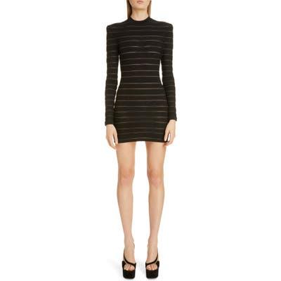 Balmain Sheer Logo Stripe Long Sleeve Sweater Minidress