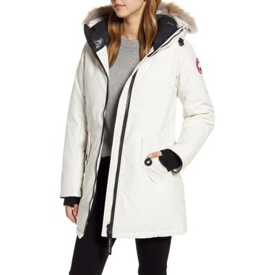 Canada Goose Rosemont Arctic Tech 625 Fill Power Down Parka With Genuine Coyote Fur Trim, Ivory