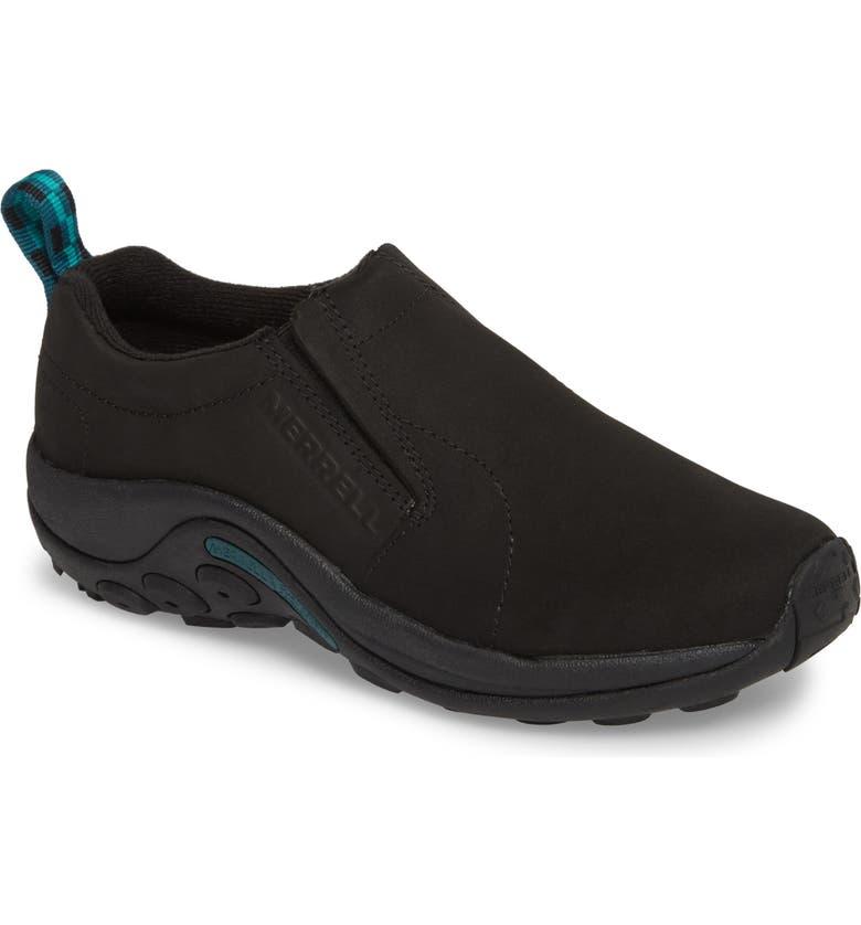 MERRELL Jungle Moc Nubuck Sneaker, Main, color, BLACK LEATHER
