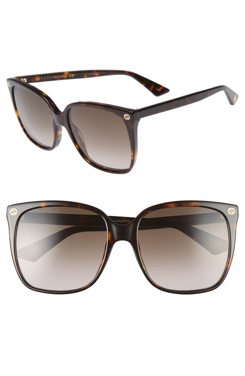GUCCI 57mm Gradient Square Sunglasses, Main, color, HAVANA/ BROWN