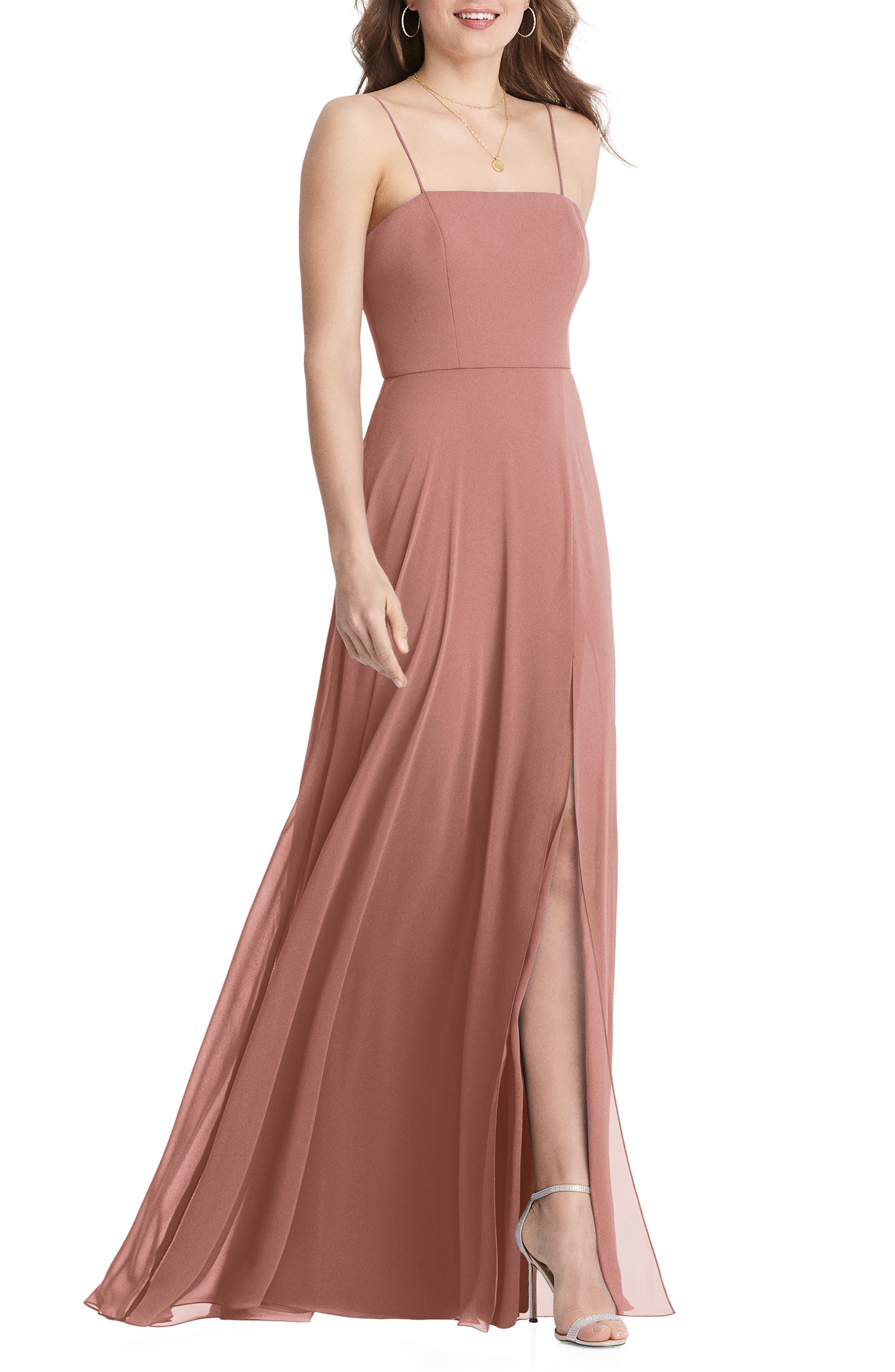 Elliott Square Neck Chiffon Gown