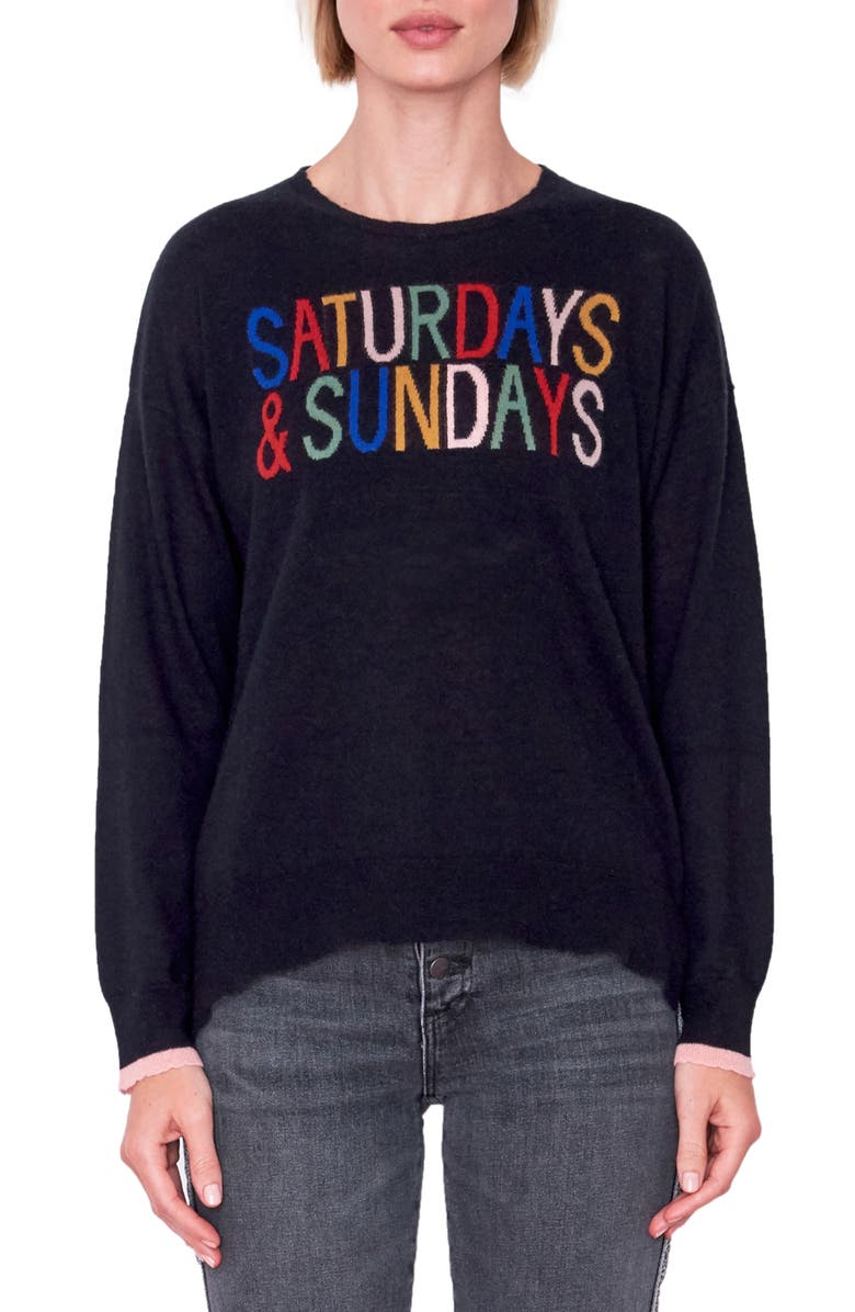 SUNDRY Classic Wool & Cashmere Crewneck Sweater, Main, color, 001