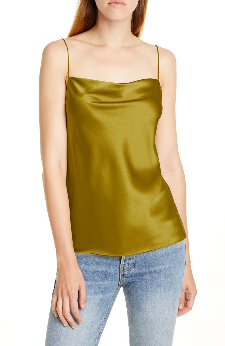 CAMI NYC The Axel Stretch Silk Camisole, Main, color, CHARTREUSE