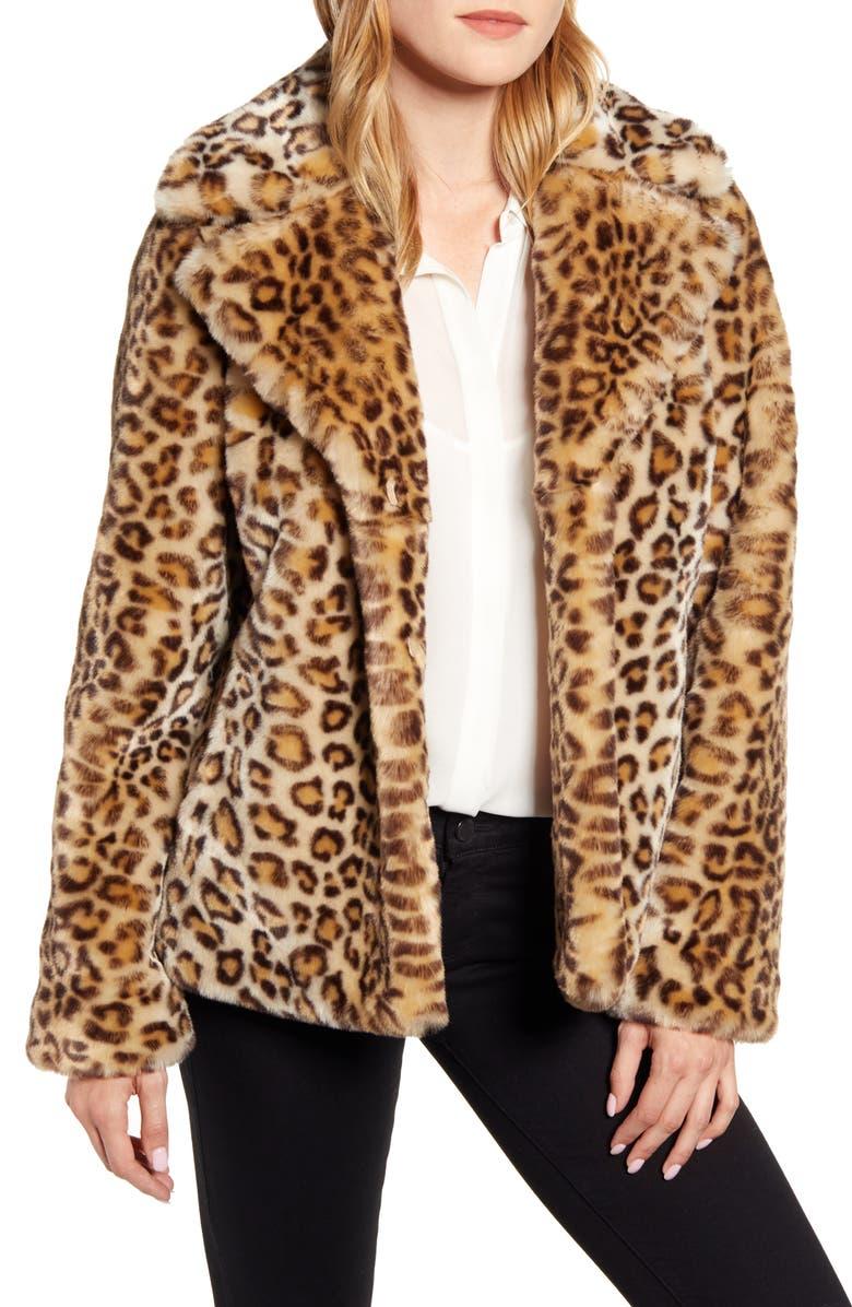 KRISTEN BLAKE Faux Ocelot Fur Jacket, Main, color, LEOPARD
