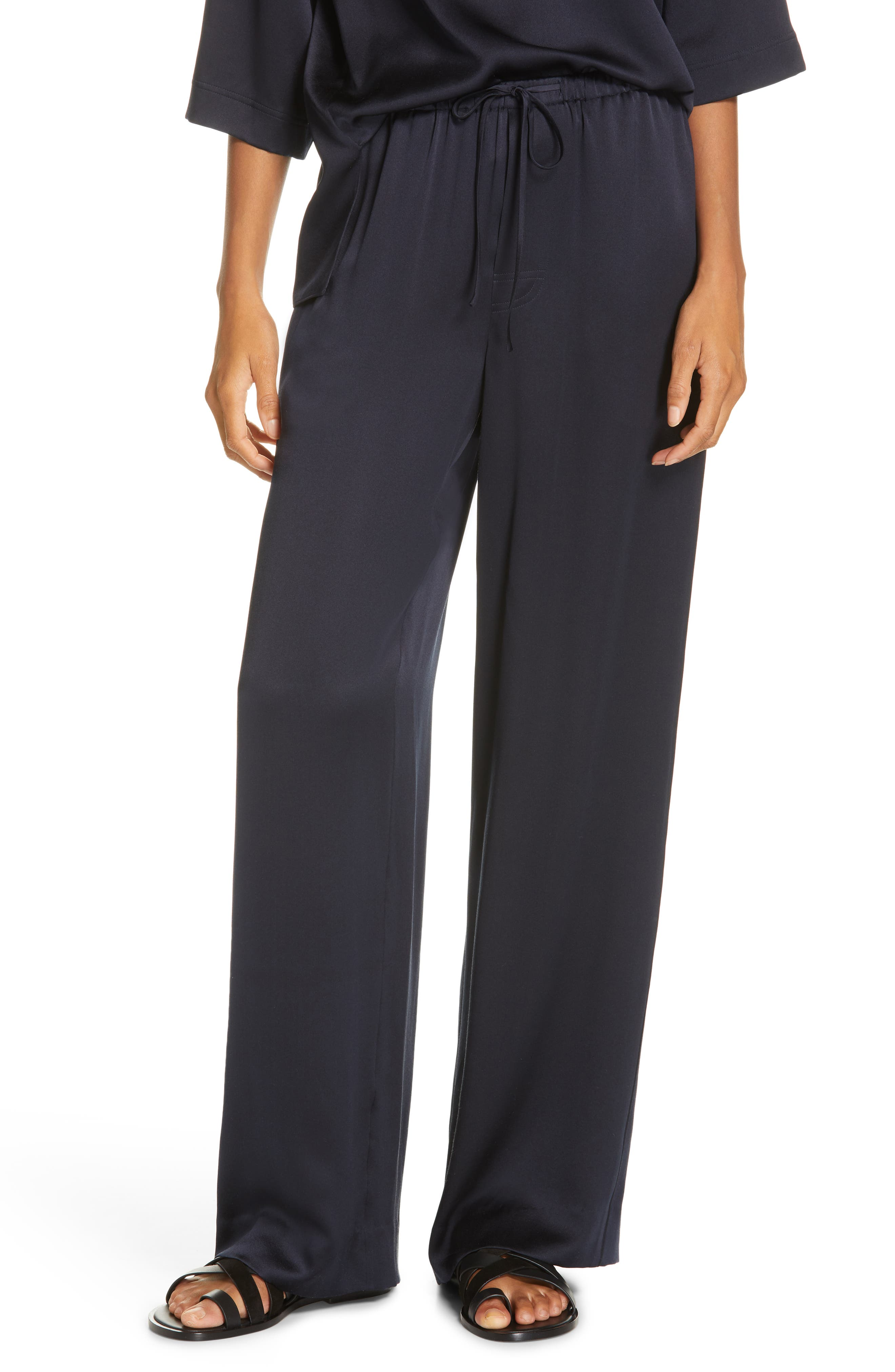 Silk Pajama Pants, Main, color, COASTAL