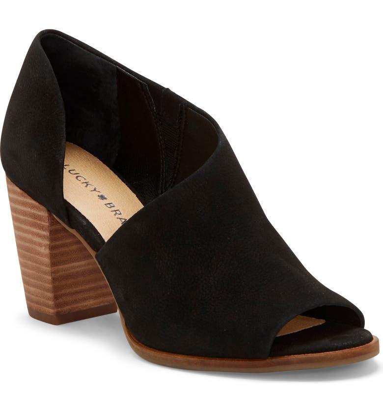 LUCKY BRAND Jexa Asymmetrical Sandal, Main, color, BLACK LEATHER