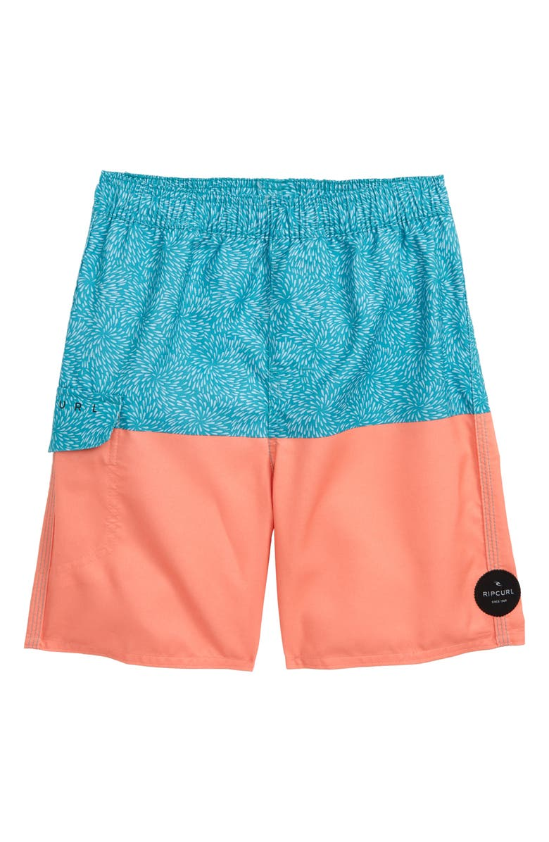 RIP CURL Spin Out Volley Swim Trunks, Main, color, PEACH/ BLUE