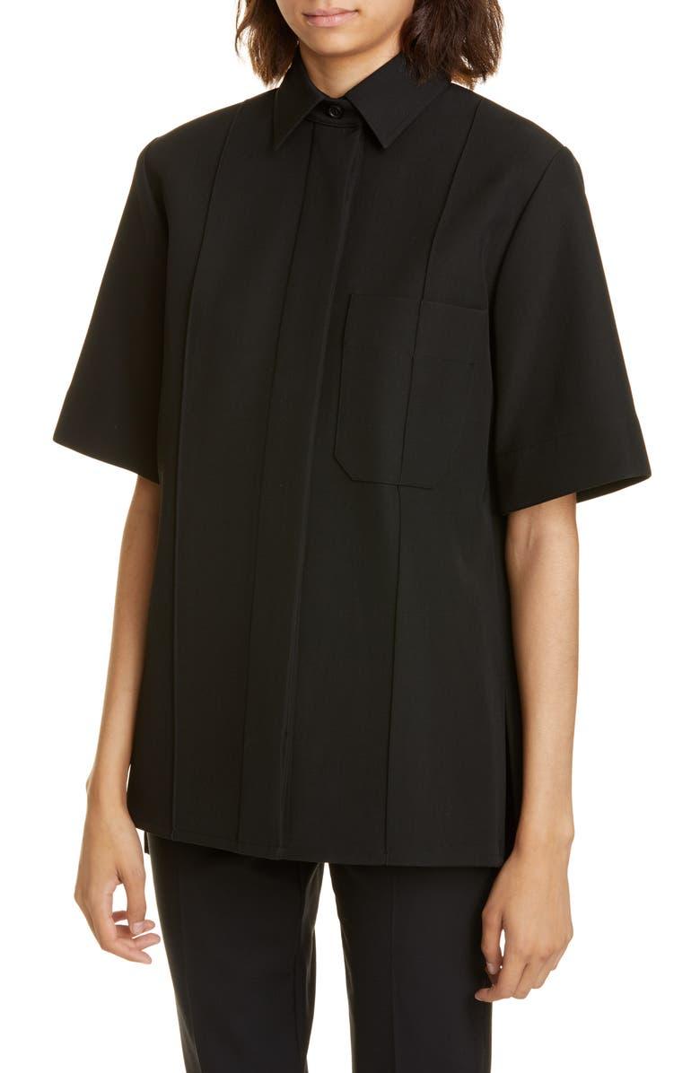 KWAIDAN EDITIONS Bonded Wool & Cotton Shirt Jacket, Main, color, BLACK
