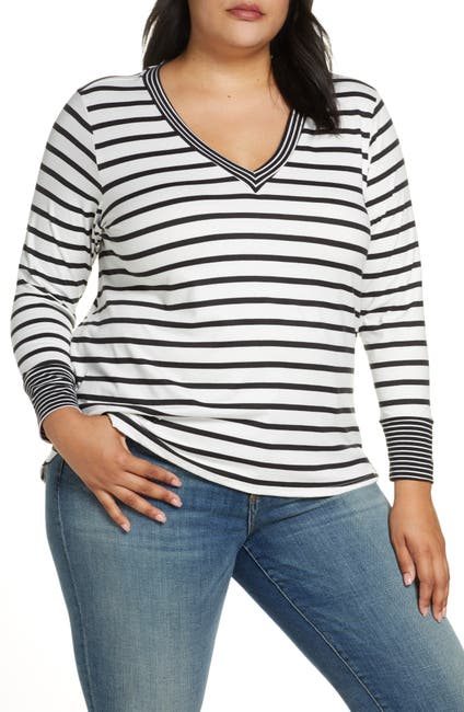 Image of Bobeau V-Neck Striped Long Sleeve Shirt